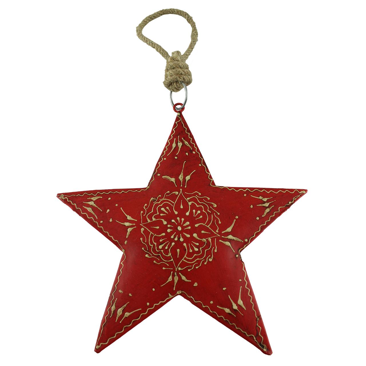 Decoratiune Stea Din Metal Rosu 16.5 Cm