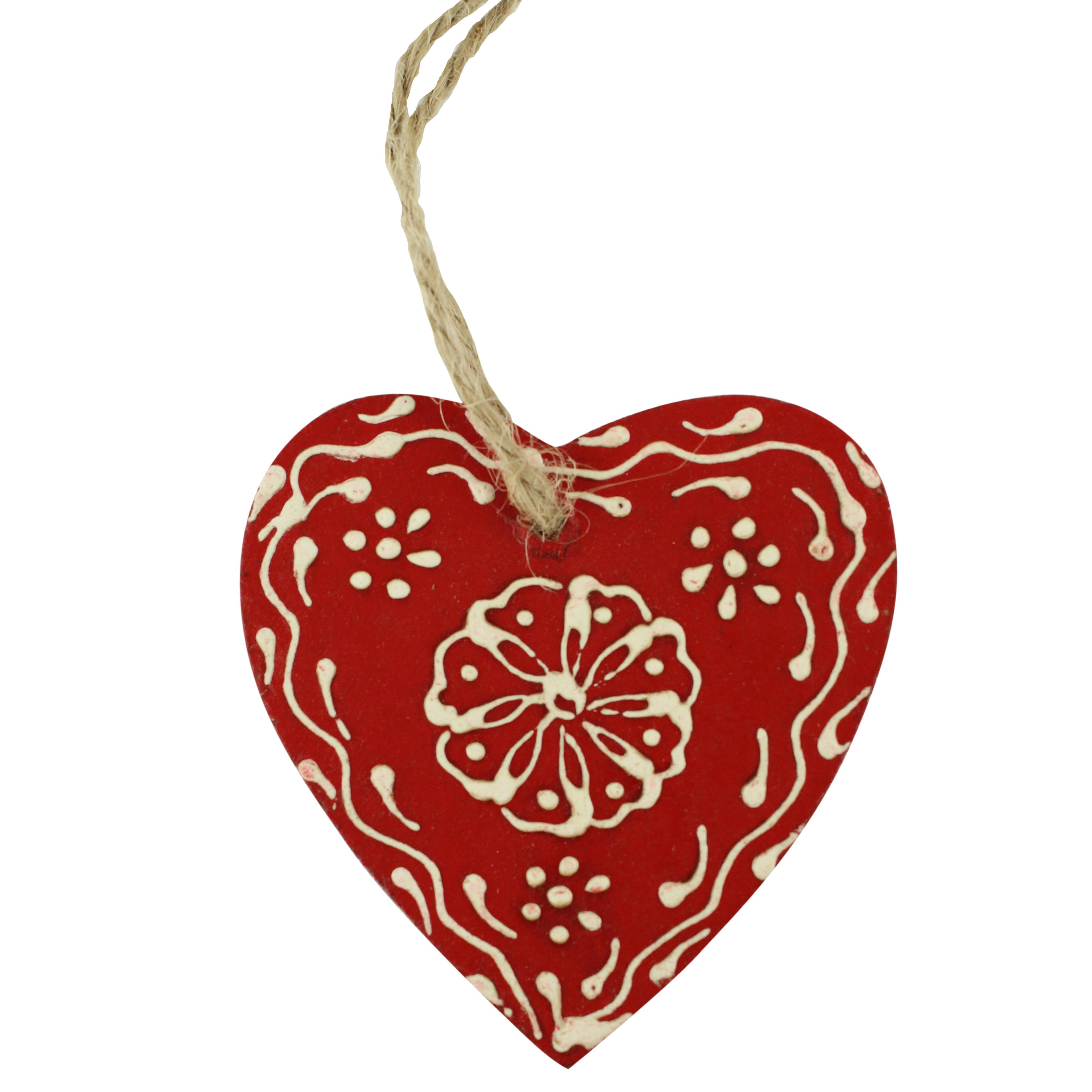 Decoratiune Inima Din Lemn Rosu Cu Alb