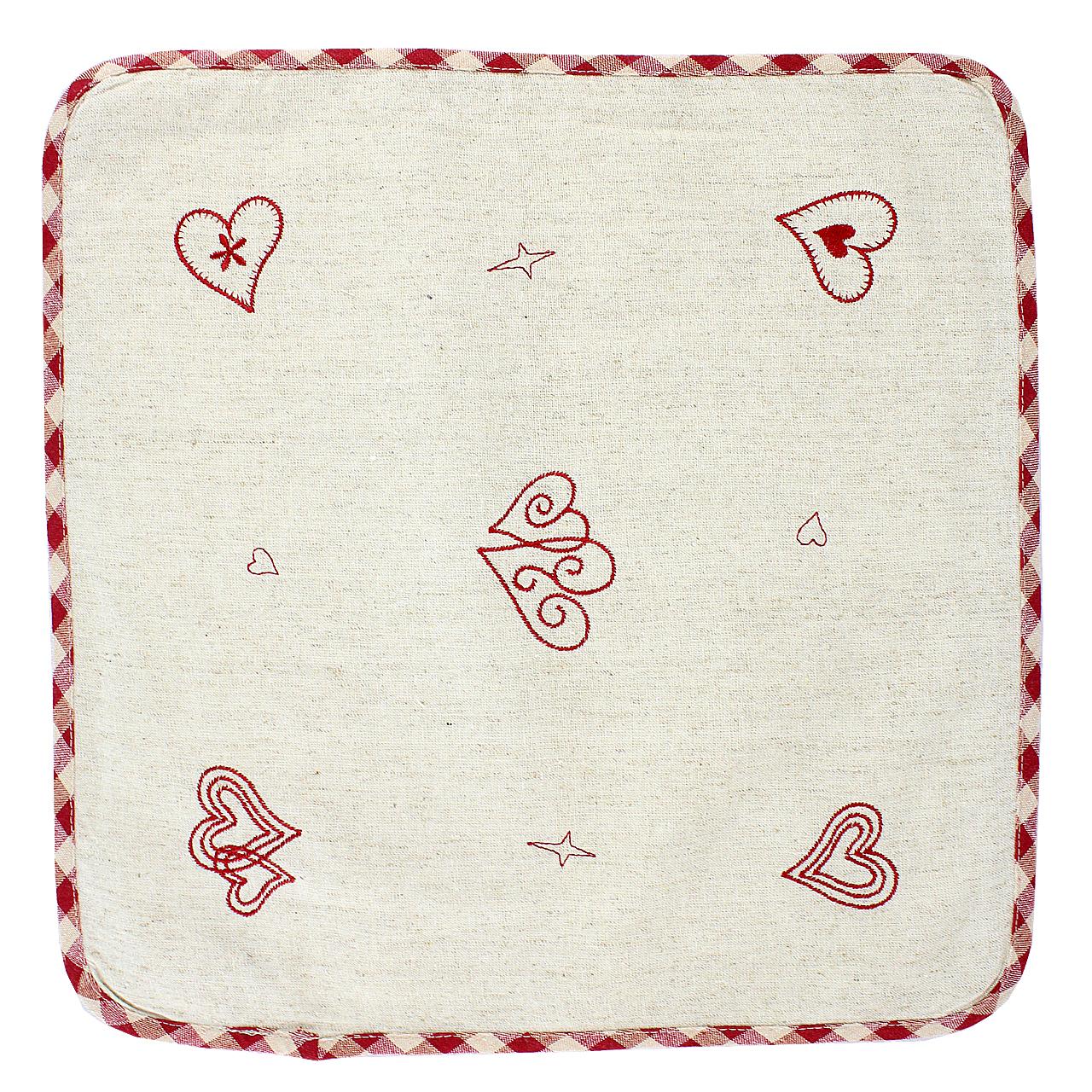 Servet De Masa Din Textil Crem Cu Inimi Brodate 40x40 Cm
