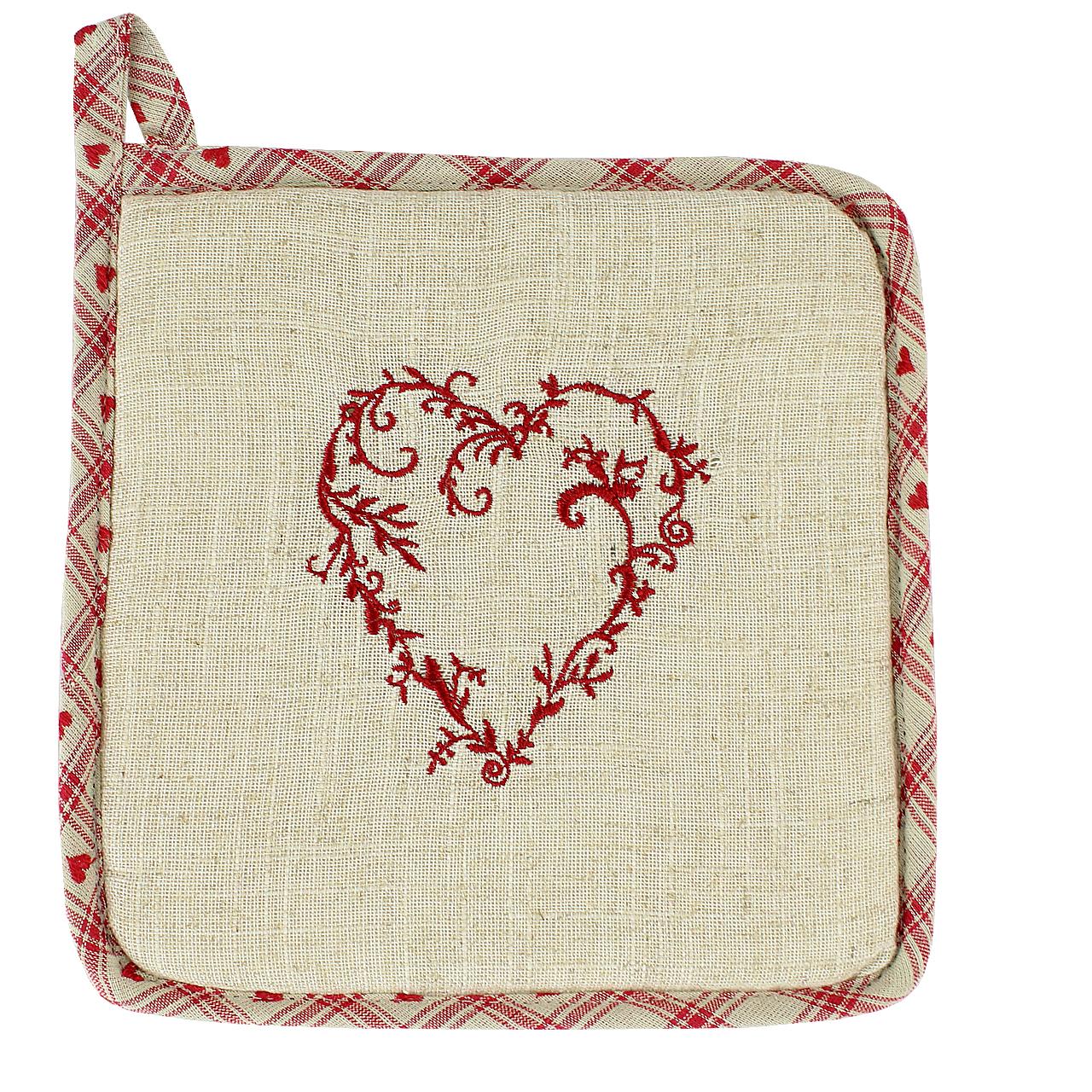 Suport Pentru Vase Fierbinti Cu Inima Din Textil Crem 20 Cm