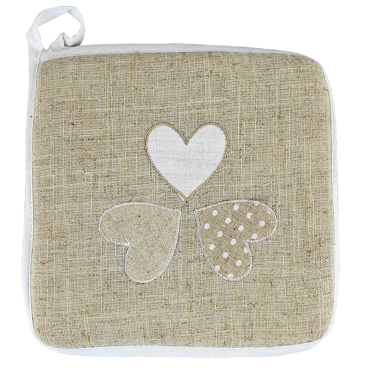 Suport Pentru Vase Fierbinti Cu Inimi Din Textil Crem 20 Cm