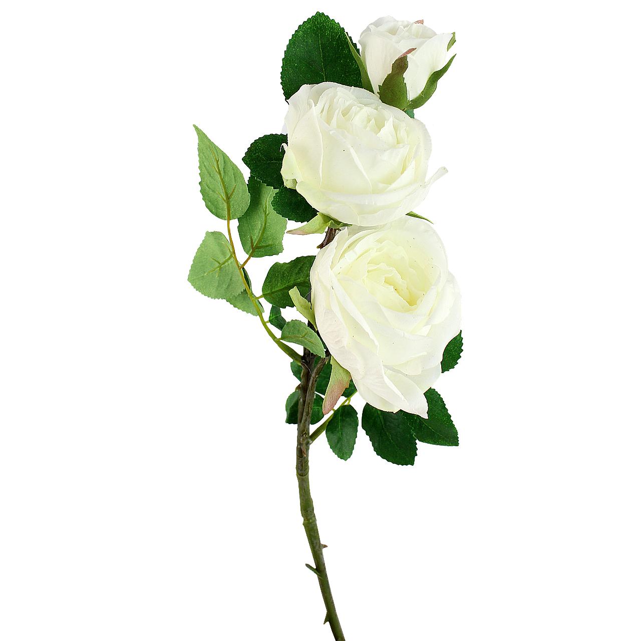 Floare Artificiala Trandafir Alb 50 Cm