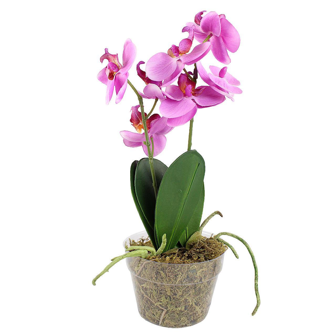 Floare Artificiala Orhidee Roz In Ghiveci 30 Cm