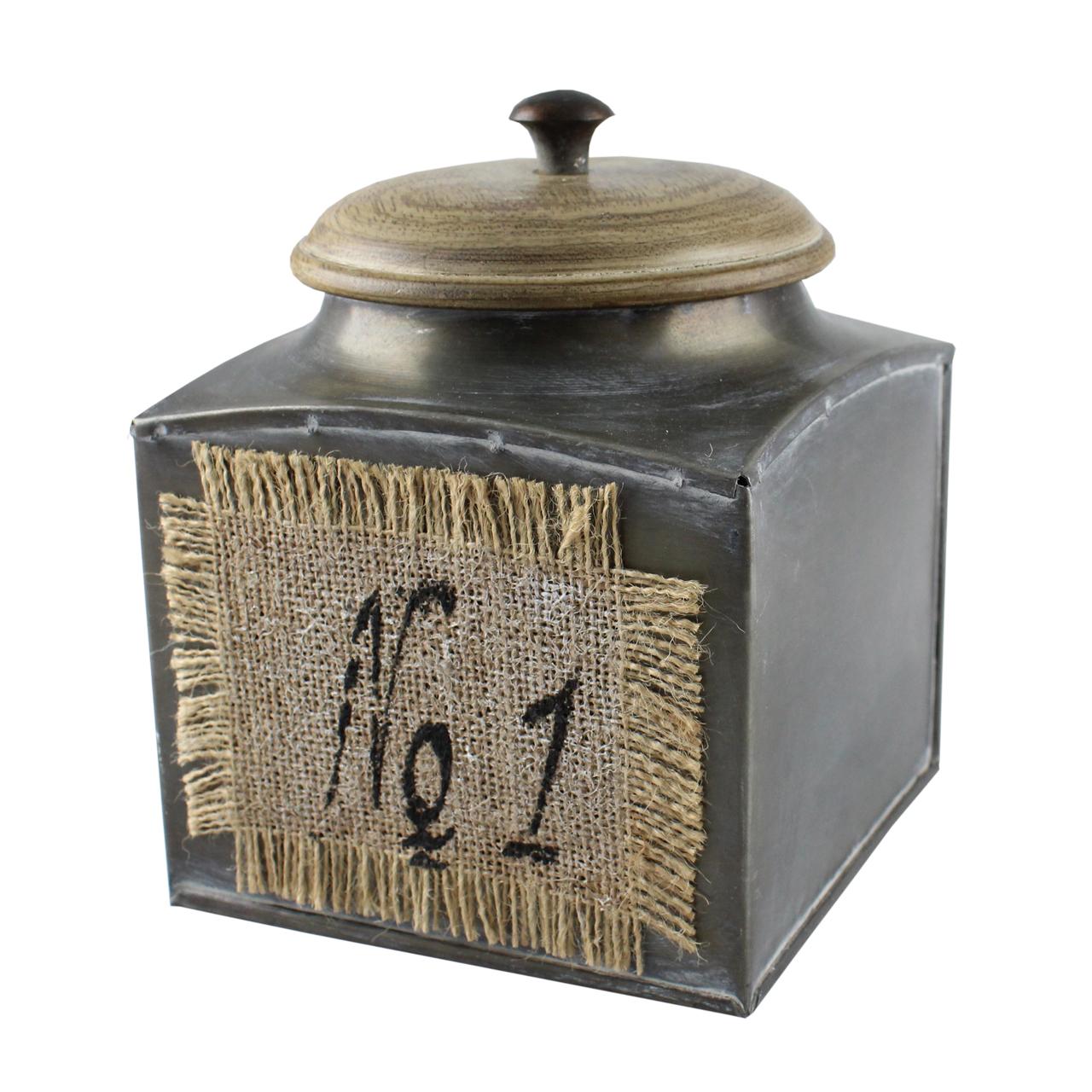 Cutie Pentru Depozitare Din Metal Si Lemn Gri 17 C