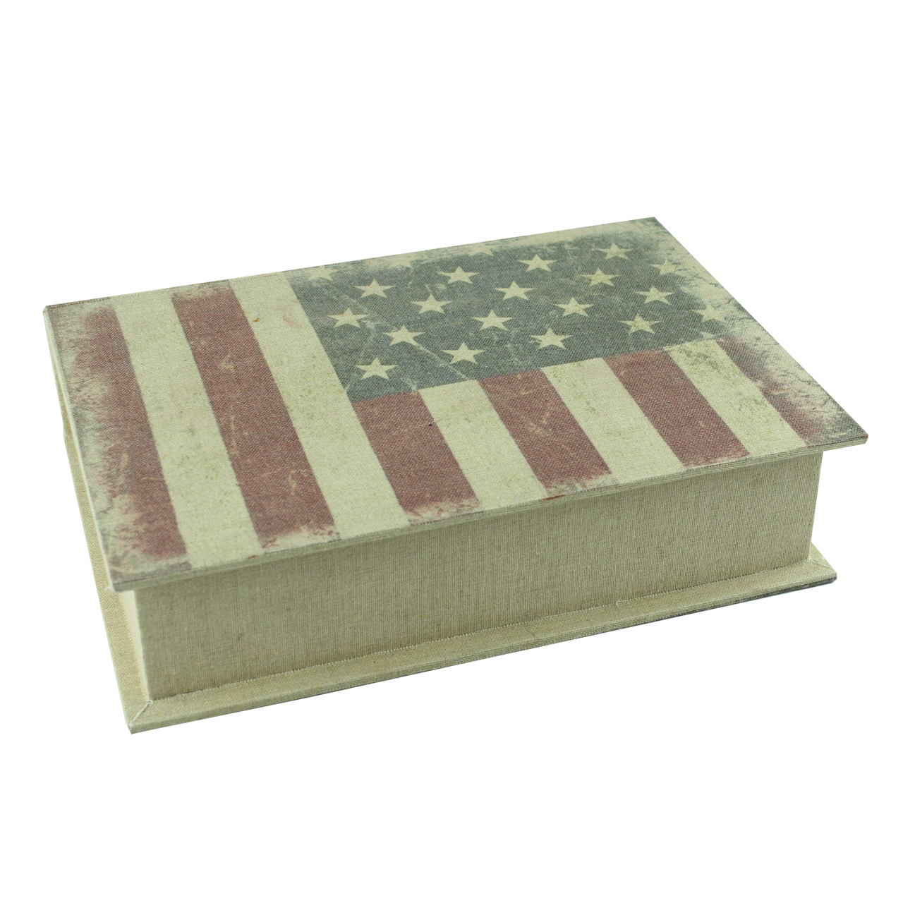 Cutie Decorativa Carte Cu Steag Usa Din Lemn 19 Cm