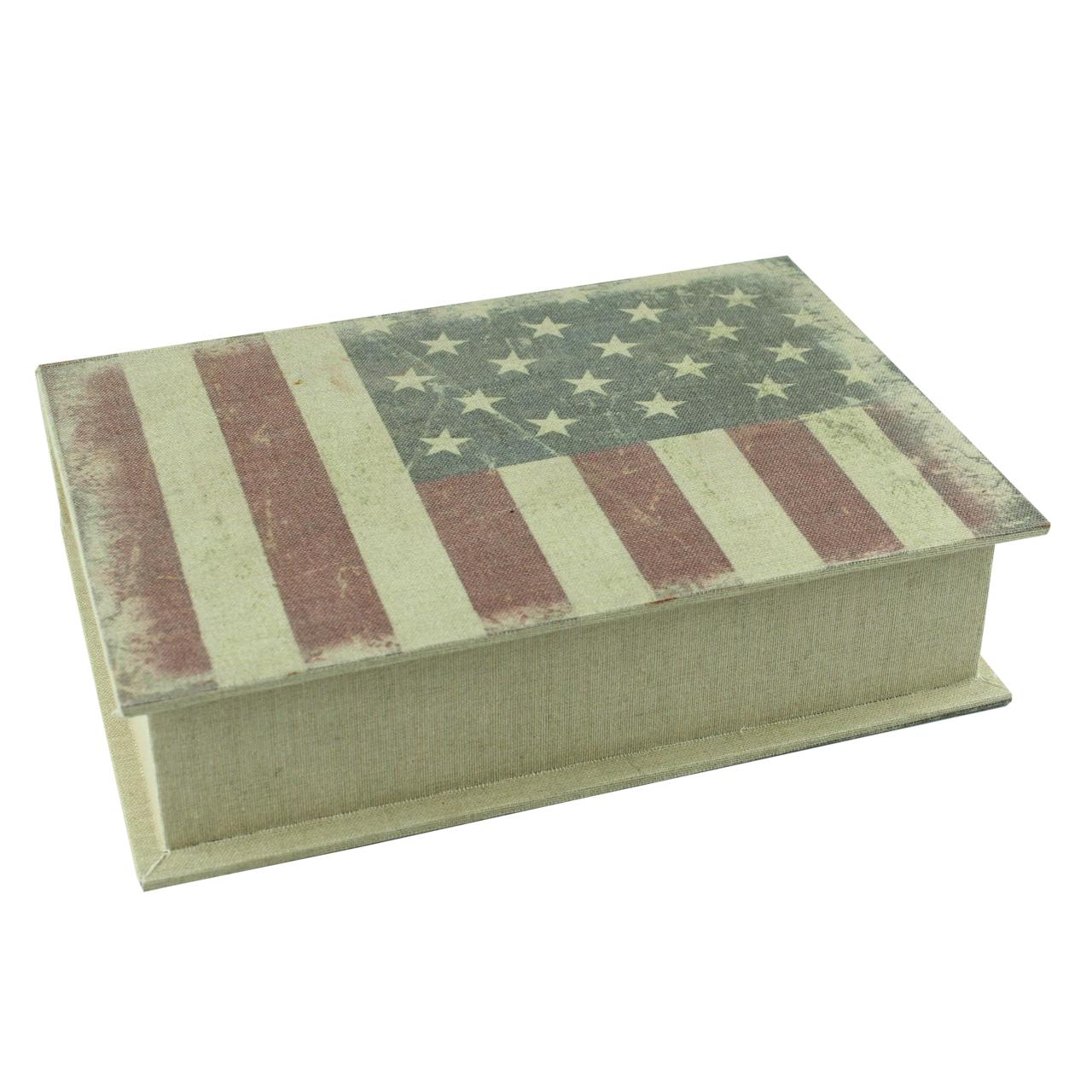 Cutie Decorativa Carte Cu Steag Usa Din Lemn 30 Cm
