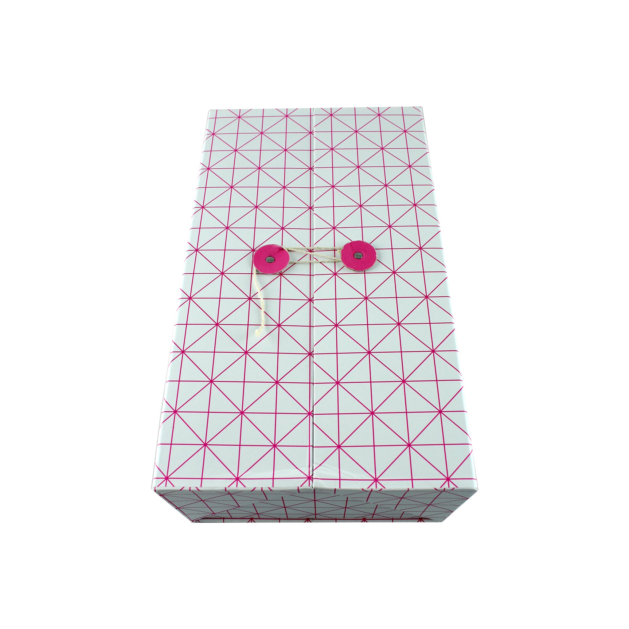 Cutie De Cadou Din Carton Alb Cu Roz 26.5 Cm