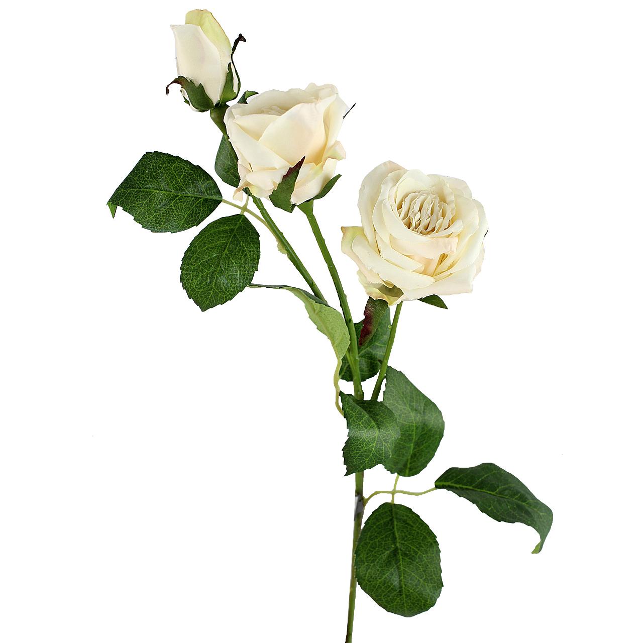 Floare Artificiala Trandafir Alb 55 Cm