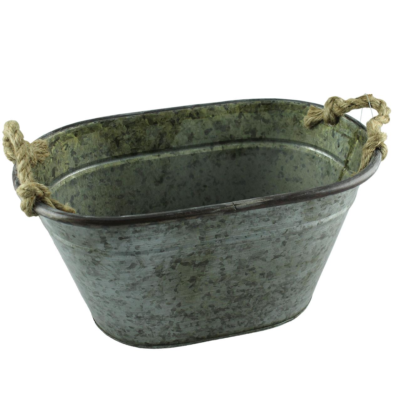 Jardiniera Rustica Din Metal Gri 53 Cm