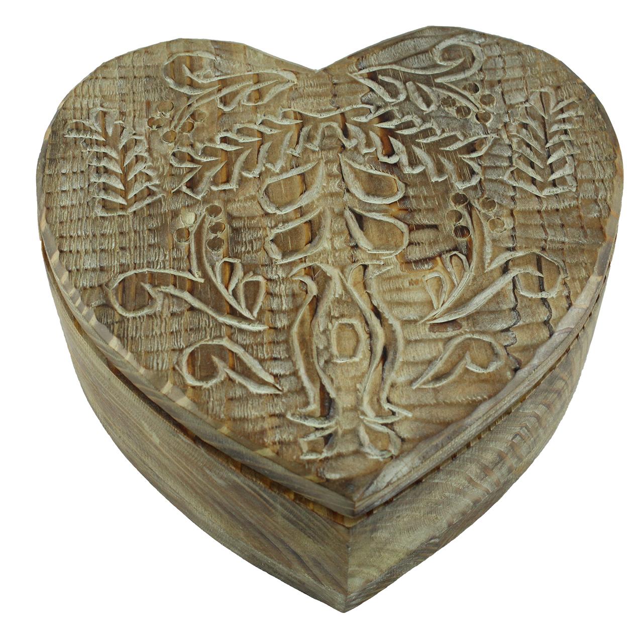 Cutie Decorativa Inima Din Lemn Natur 15x15 Cm