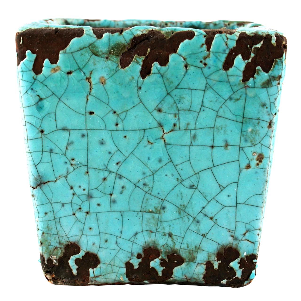 Ghiveci Patrat Din Ceramica Turcoaz 11 Cm