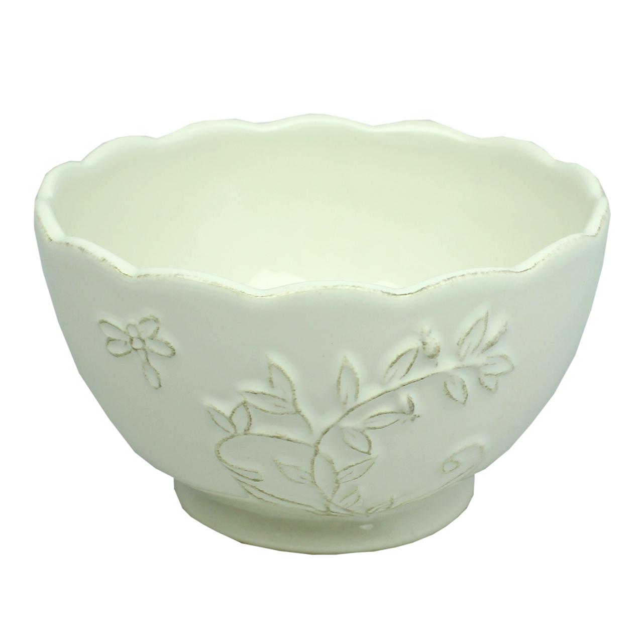 Bol Cu Frunze Din Ceramica Alba