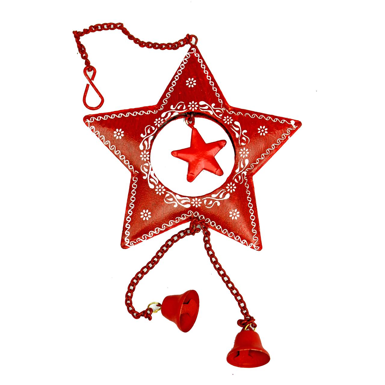 Decoratiune Steluta Cu Clopotel Din Metal Rosu 10