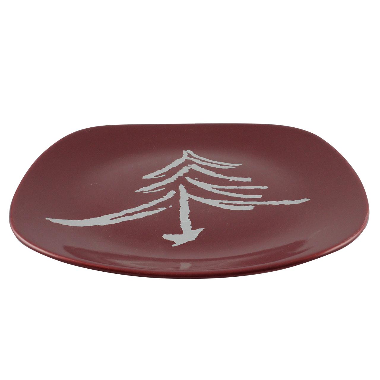 Platou Patrat Cu Brad Din Ceramica Rosie