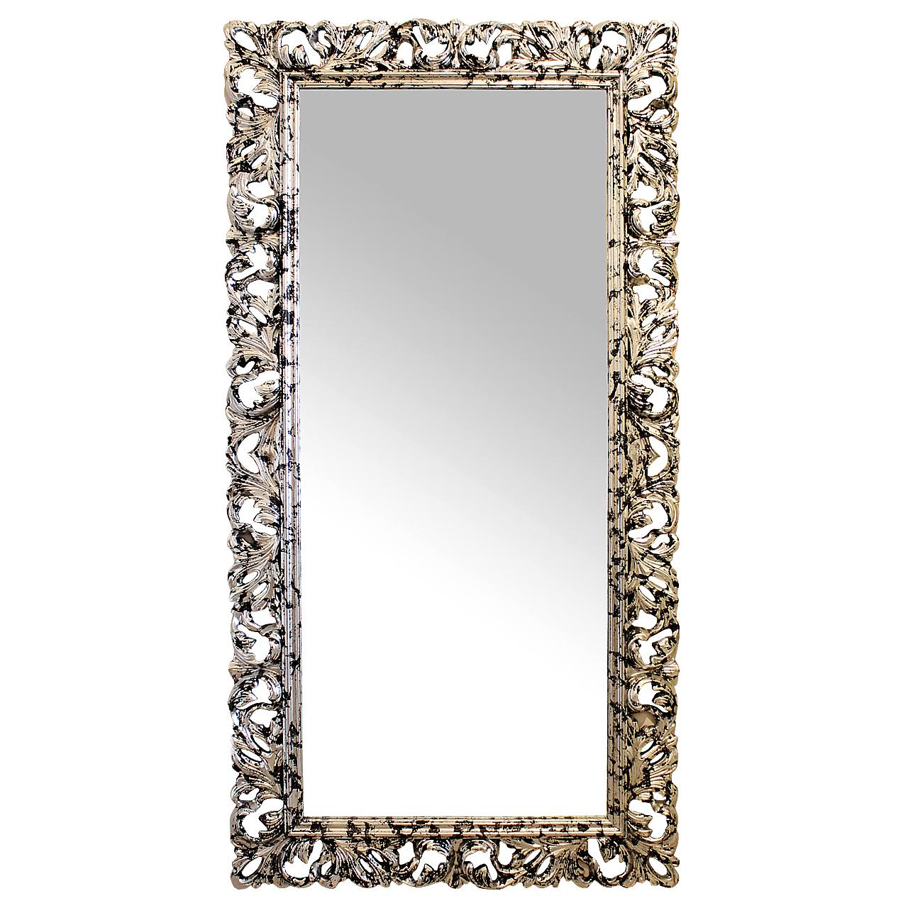 Oglinda Retro Din Polirasina Argintiu Cu Negru