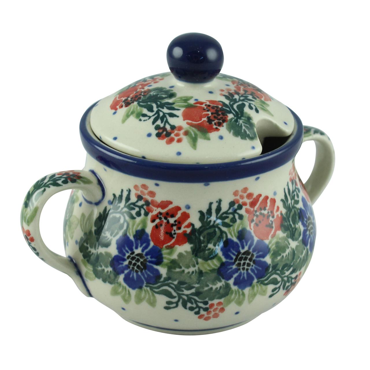 Recipient Pentru Zahar Cu Capac Din Ceramica Cu Fl