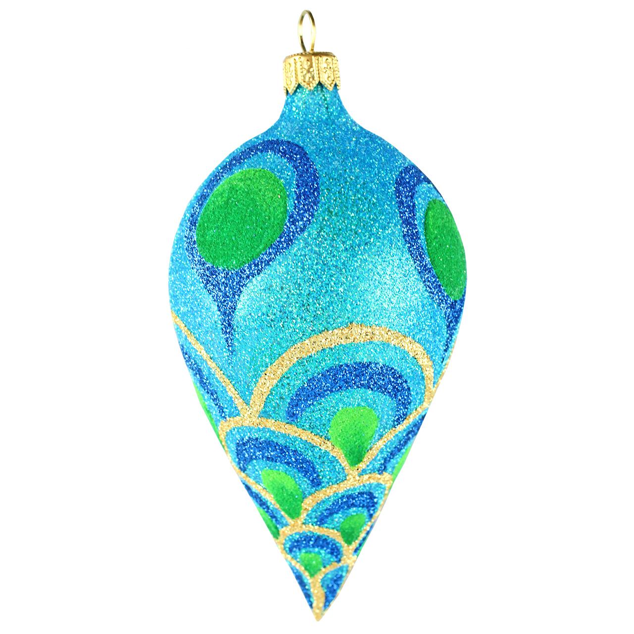 Decoratiune Glob Din Sticla Albastra Cu Insertii