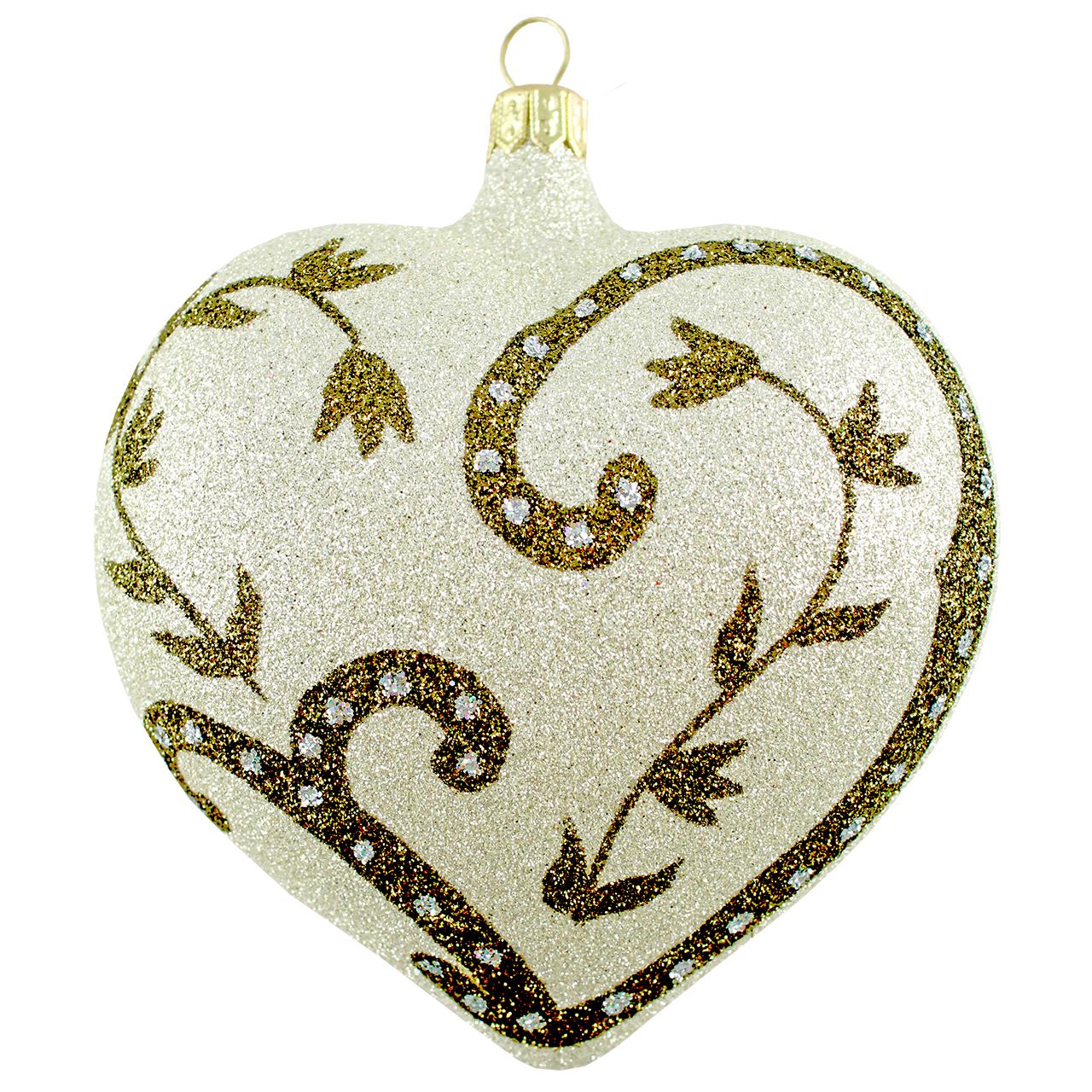 Decoratiune Glob Inima Din Sticla Crem Si Auriu