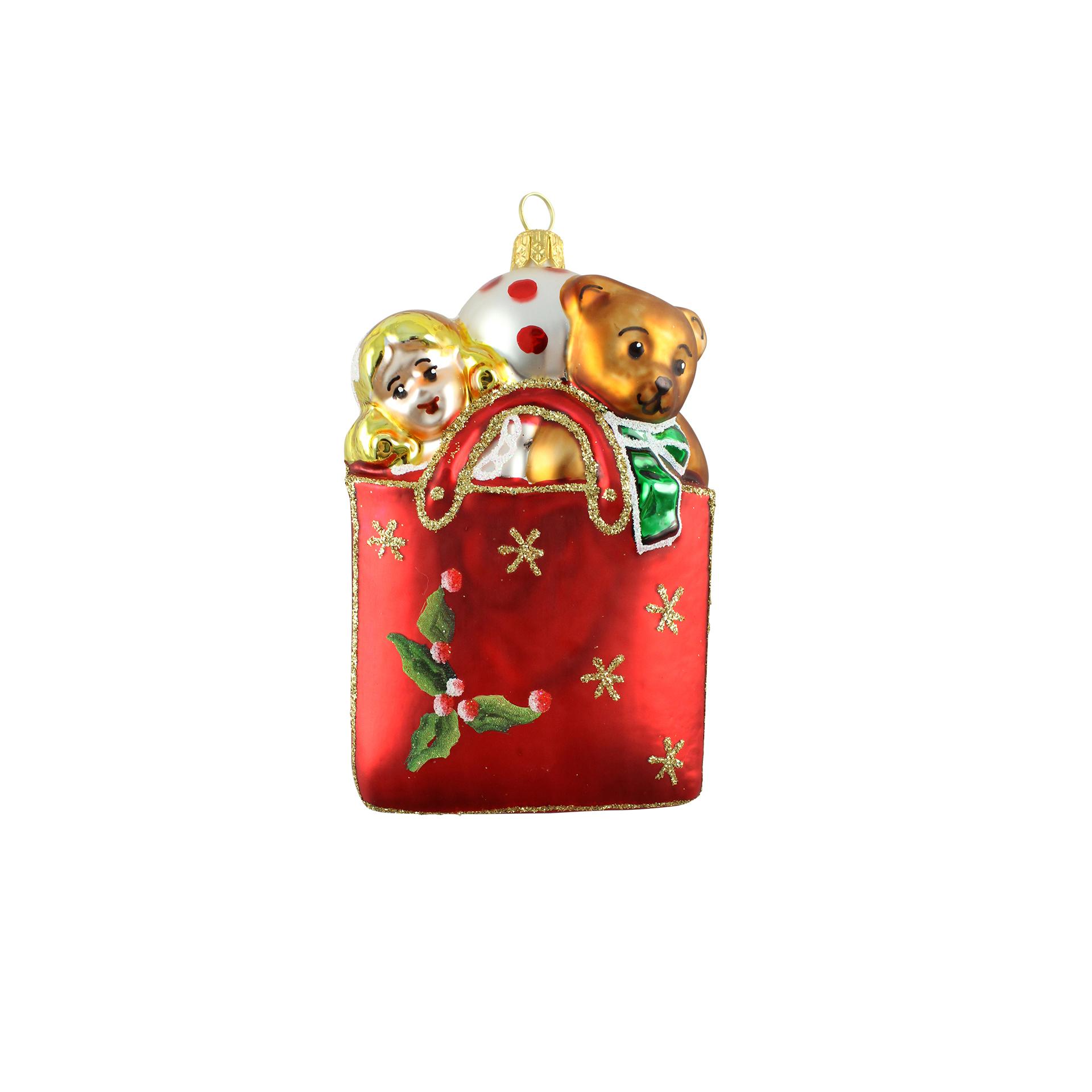 Decoratiune Glob Cutie De Cadouri Din Sticla Rosie