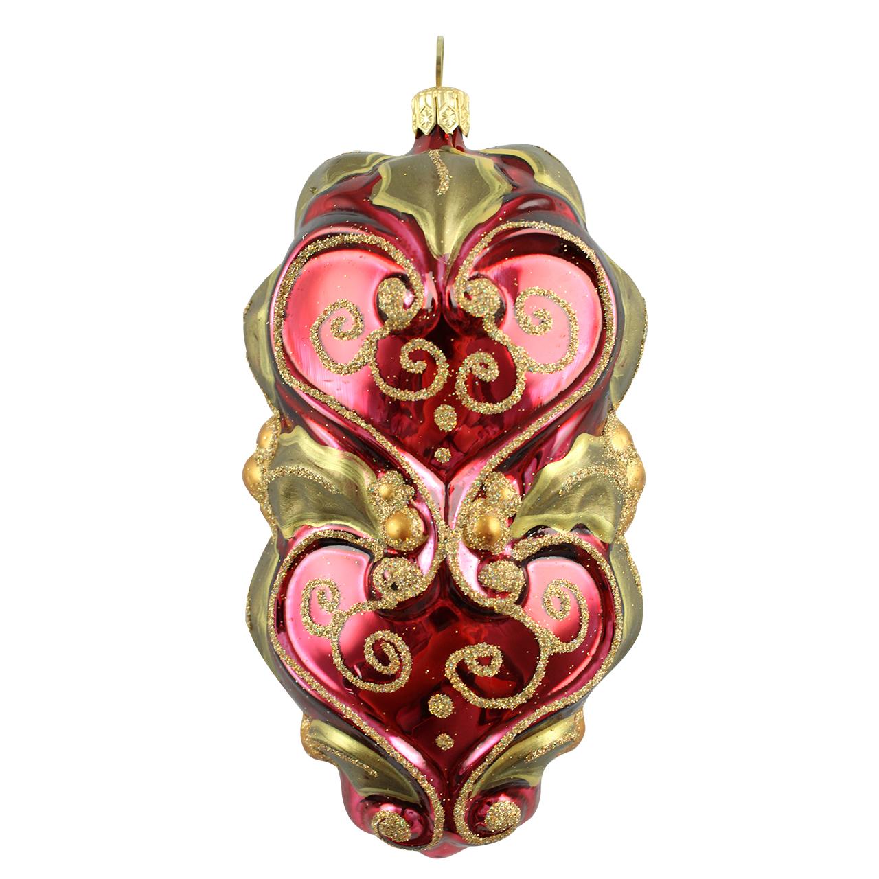 Decoratiune Glob Din Sticla Maro Auriu Cu Visiniu