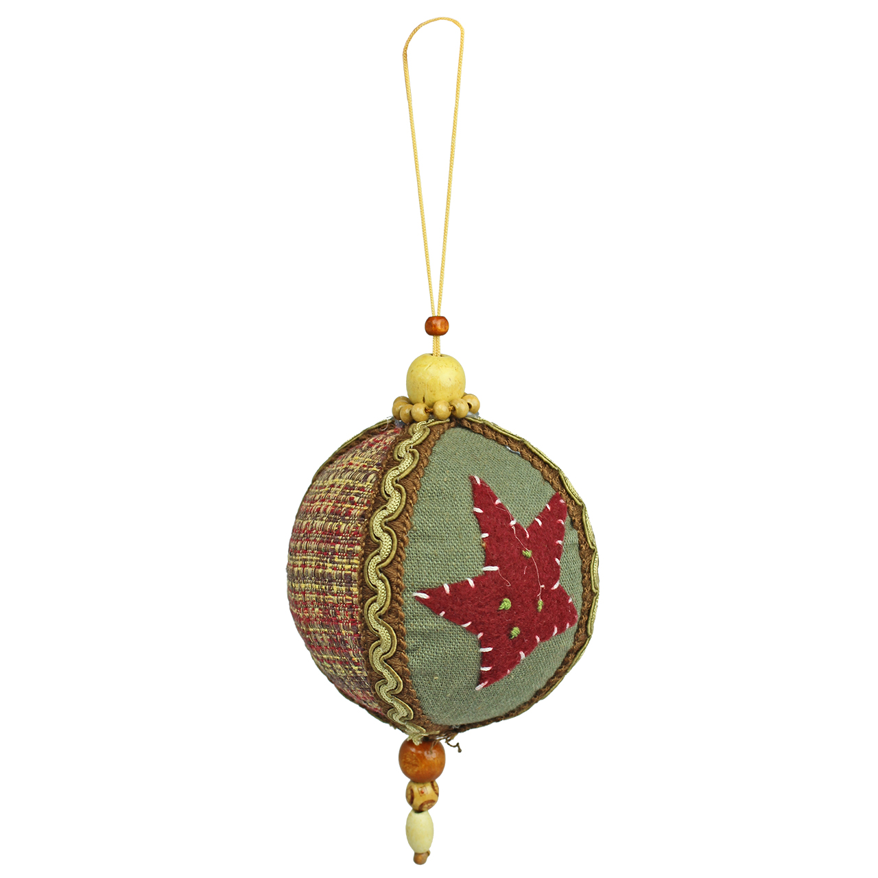 Decoratiune Glob Rotund Din Bumbac Maro Brodat