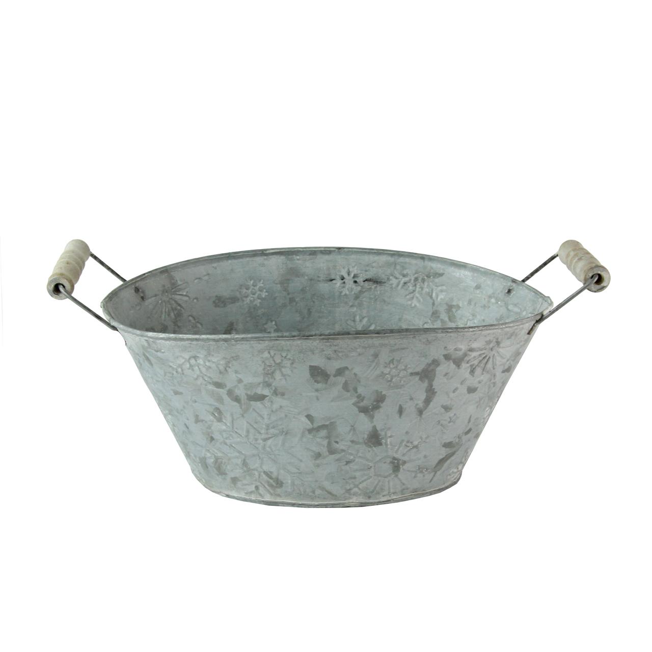 Jardiniera Din Metal Gri Patinat 27x16 Cm