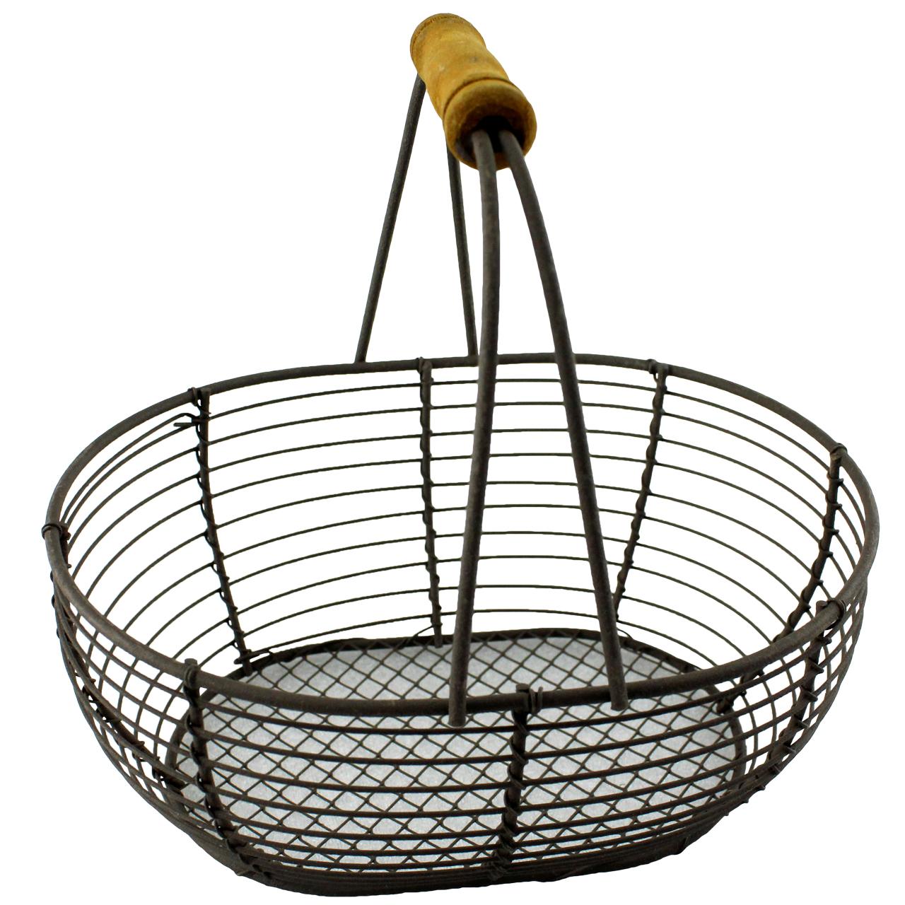 Cos Oval Cu Maner Din Metal Maro 18x14 Cm