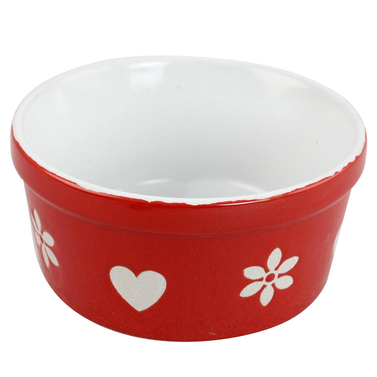 Bol Din Ceramica Rosie Cu Inimioare Si Flori