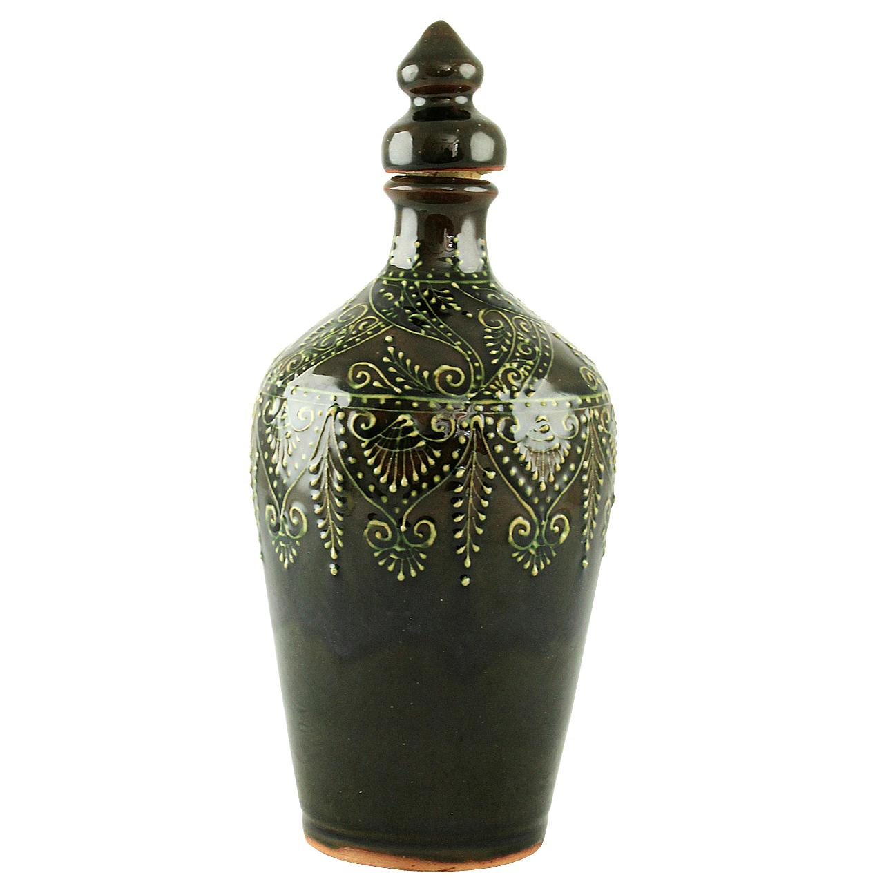 Sticla Traditionala Verde Cu Dop Din Ceramica