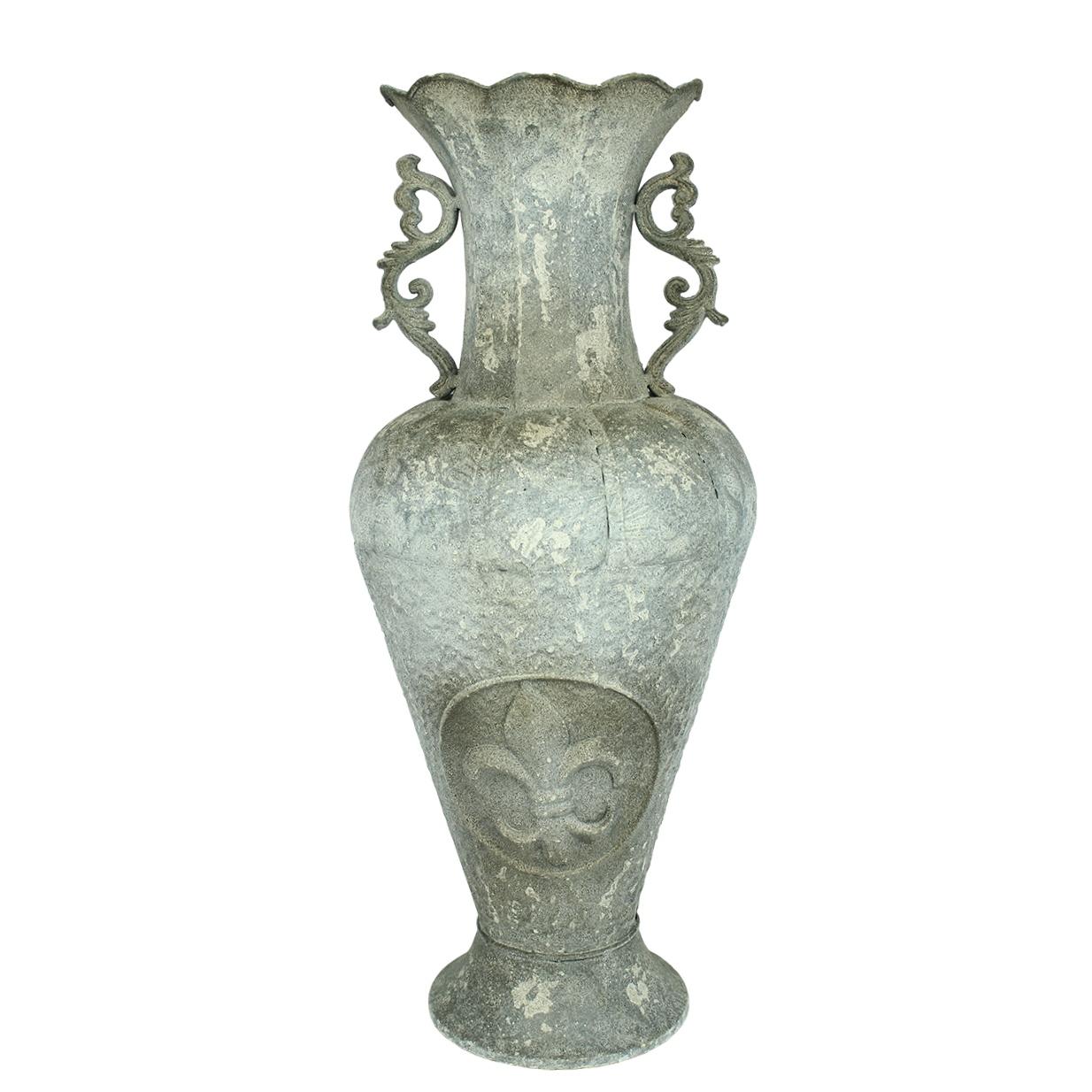 Vaza Antichizata Cu Toarte Din Metal Gri 86 Cm