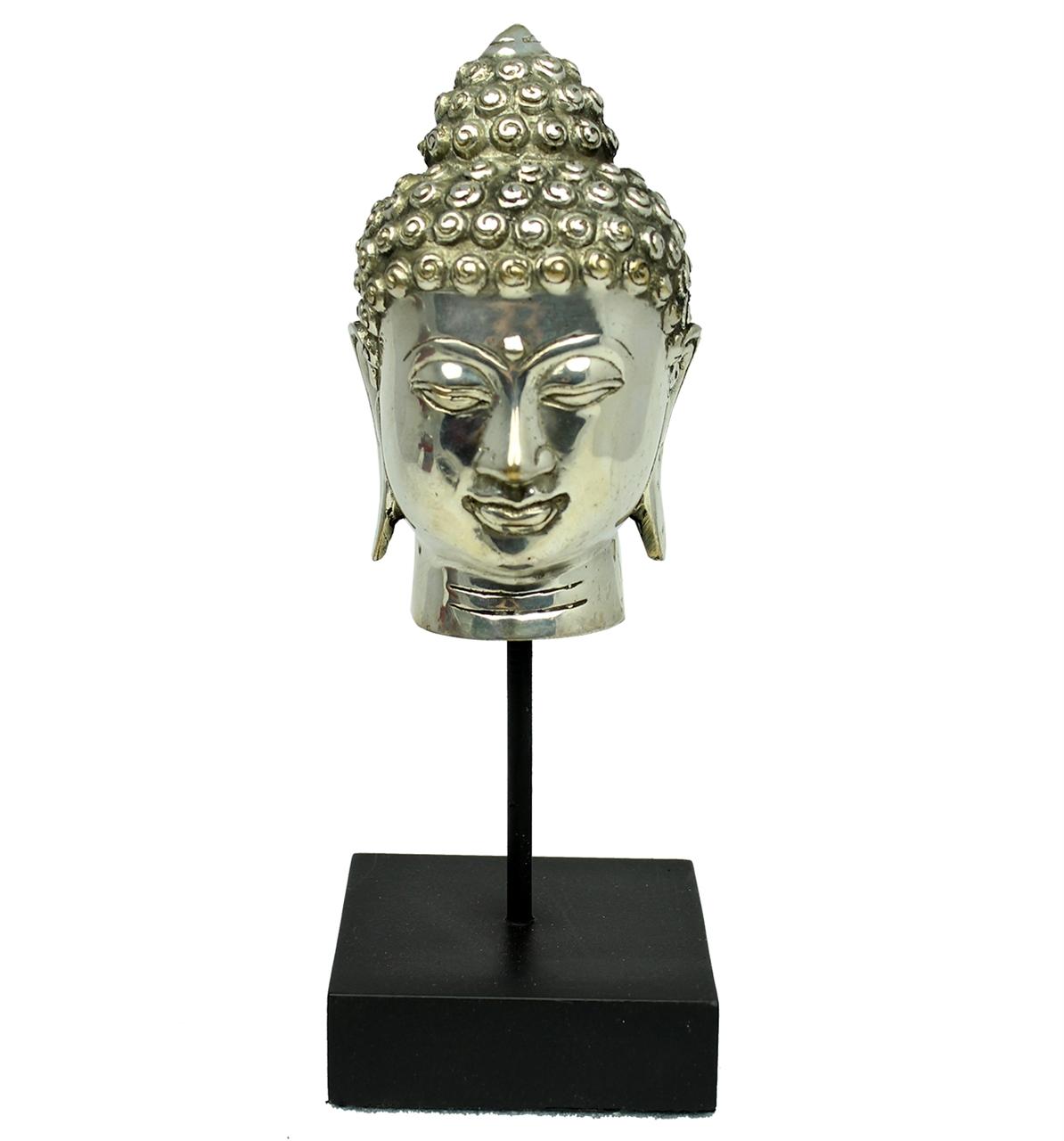 Statueta Din Alama Cap De Buddha Pe Piedestal
