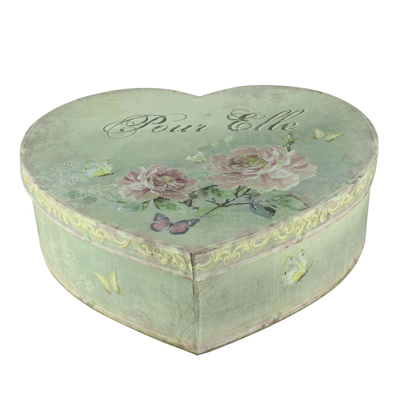 Cutie Decorativa Inima Din Carton Verde Cu Flori R