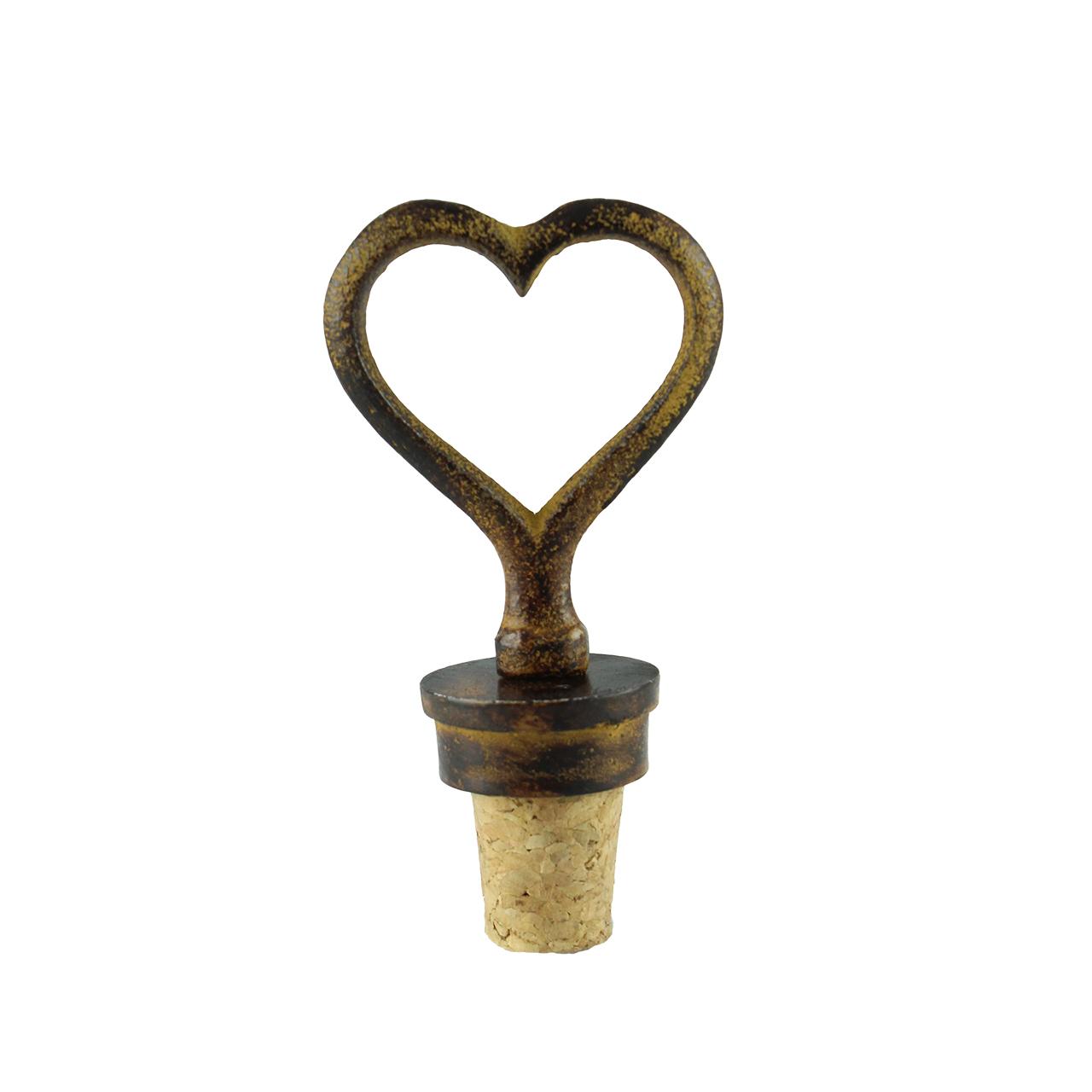 Dop Pentru Sticla Cu Inima Din Metal Si Pluta 10 C