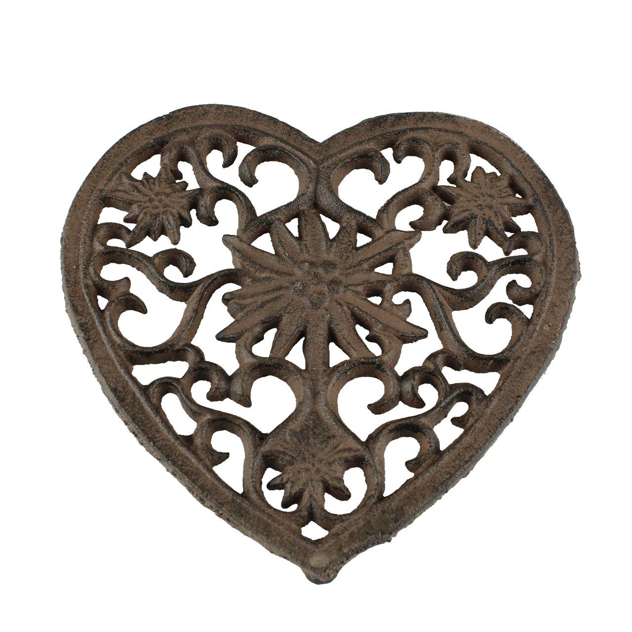 Suport Pentru Vase Fierbinti Inima Din Metal Maro
