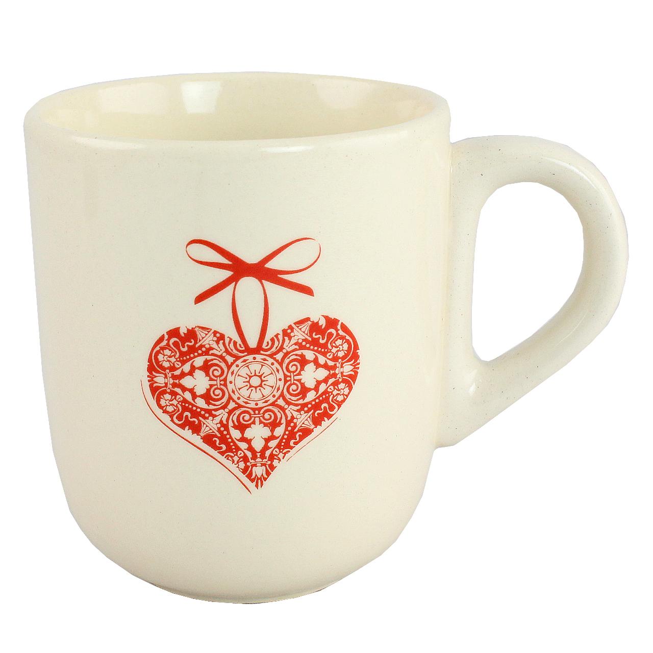 Cana Cu Inima Rosie Din Ceramica Alba