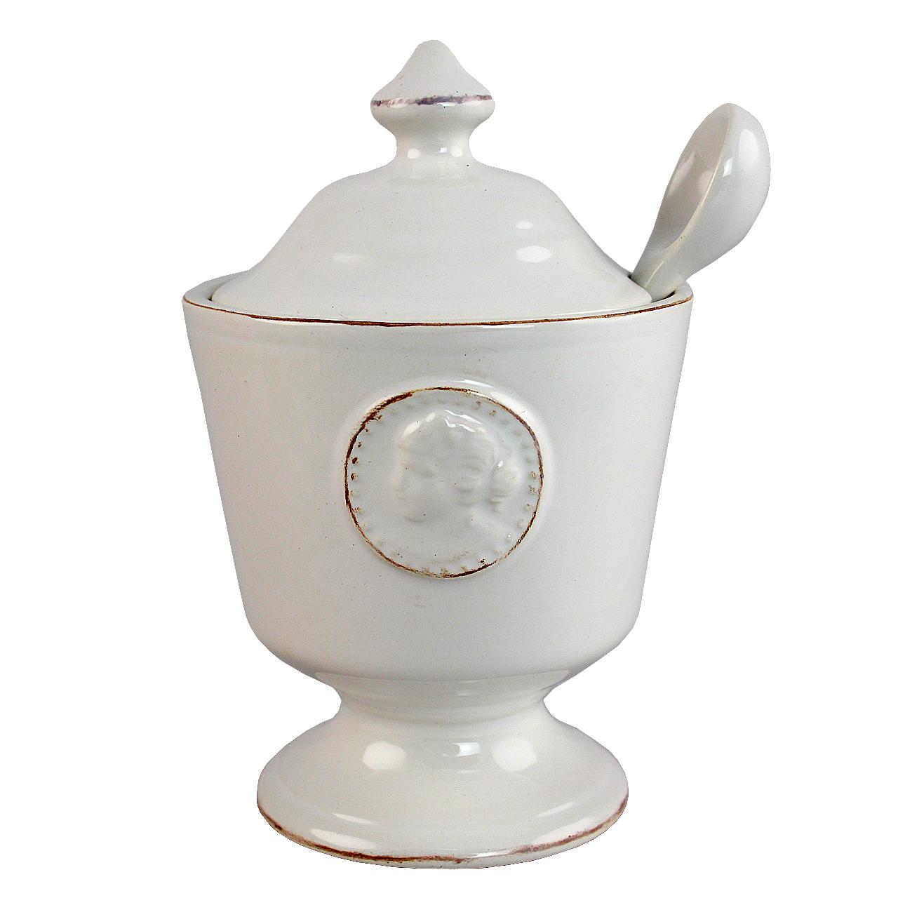 Recipient Cu Lingurita Din Ceramica Alba 15 Cm