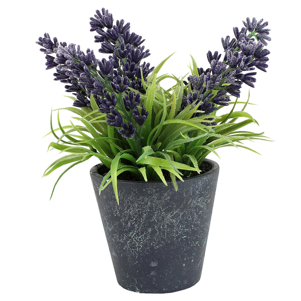 Floare Artificiala Lavanda In Ghiveci Gri Inchis 13 Cm