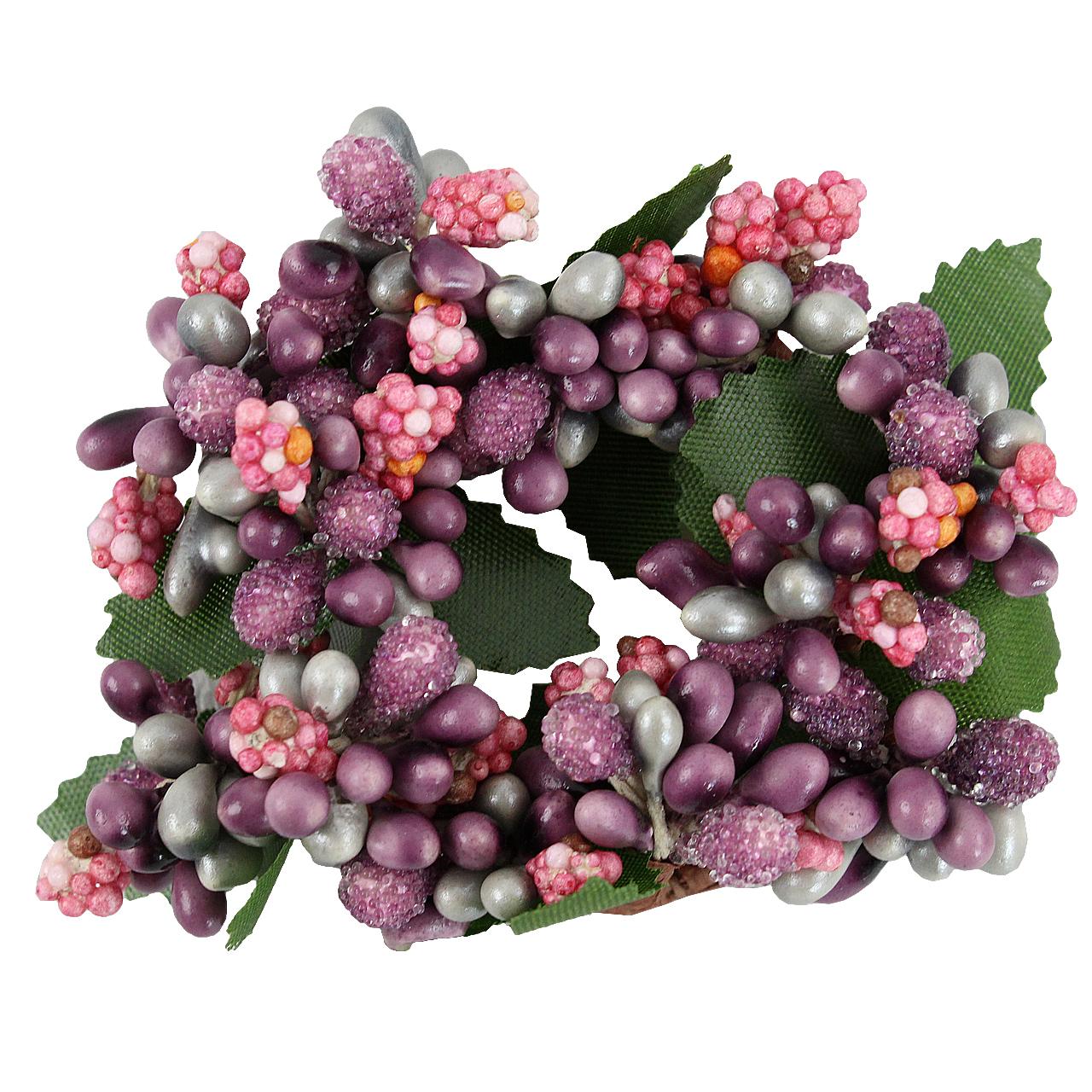 Coronita Cu Boabe Roz Pentru Lumanare 3 Cm