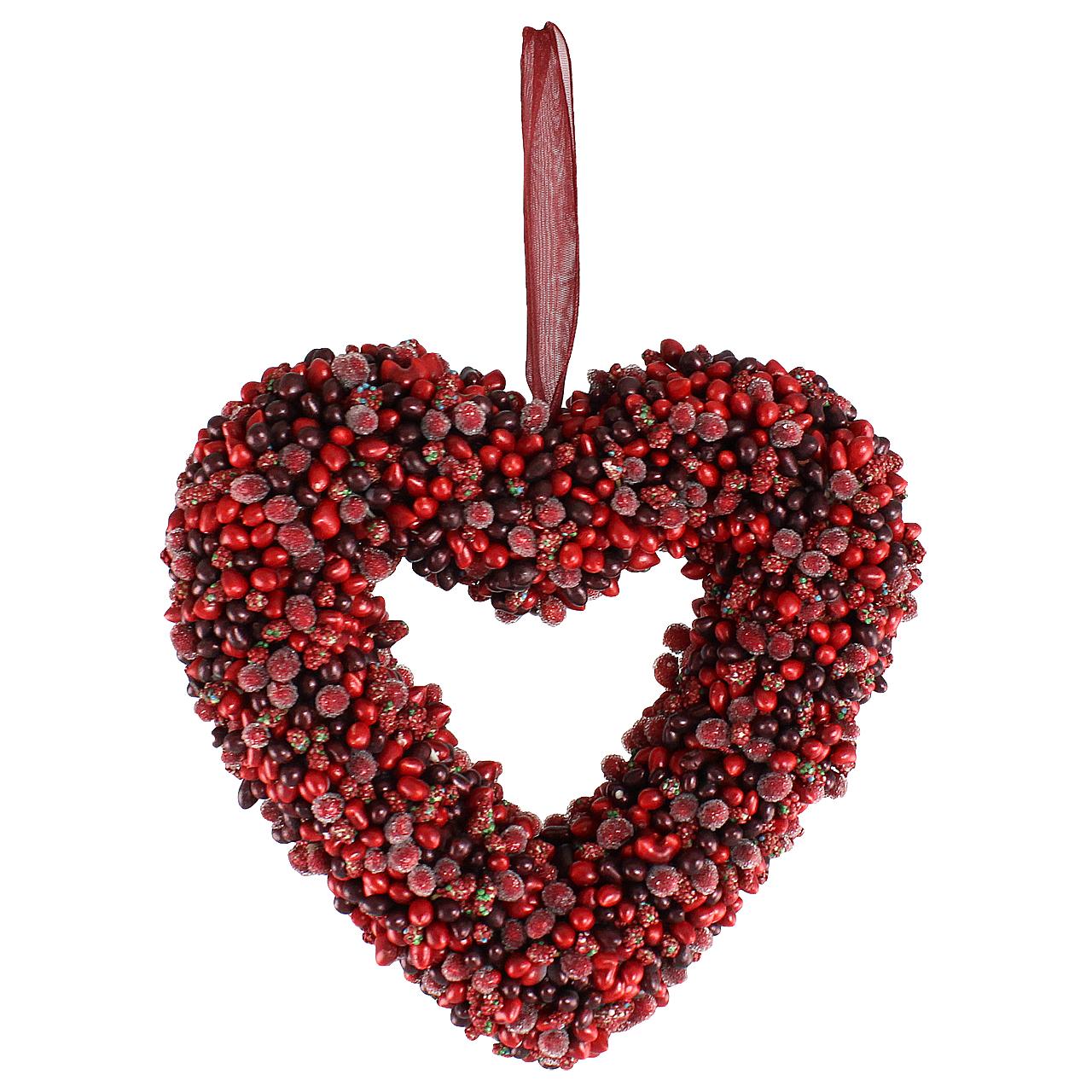 Coronita Decorativa Inima Din Boabe Rosii 17 Cm