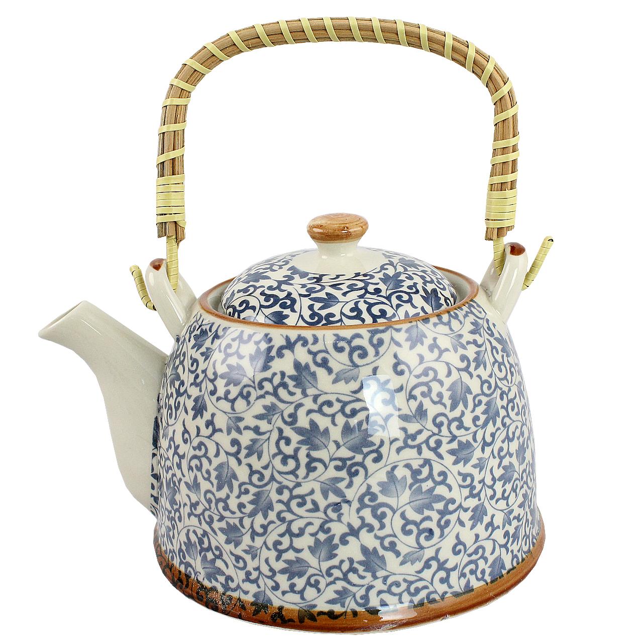 Ceainic Din Ceramica Alba Cu Frunze Albastre