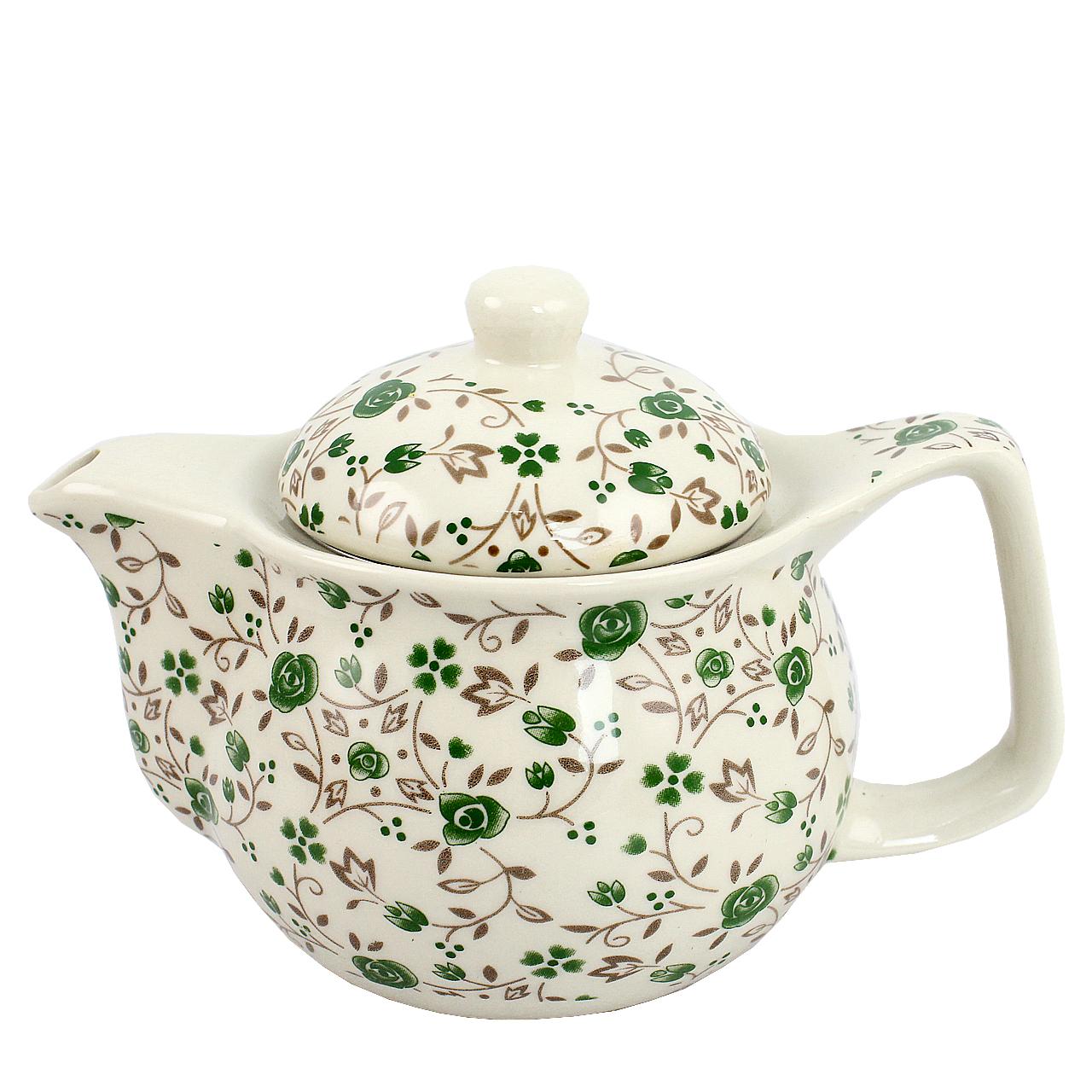 Ceainic Din Ceramica Cu Flori Verzi 12 Cm