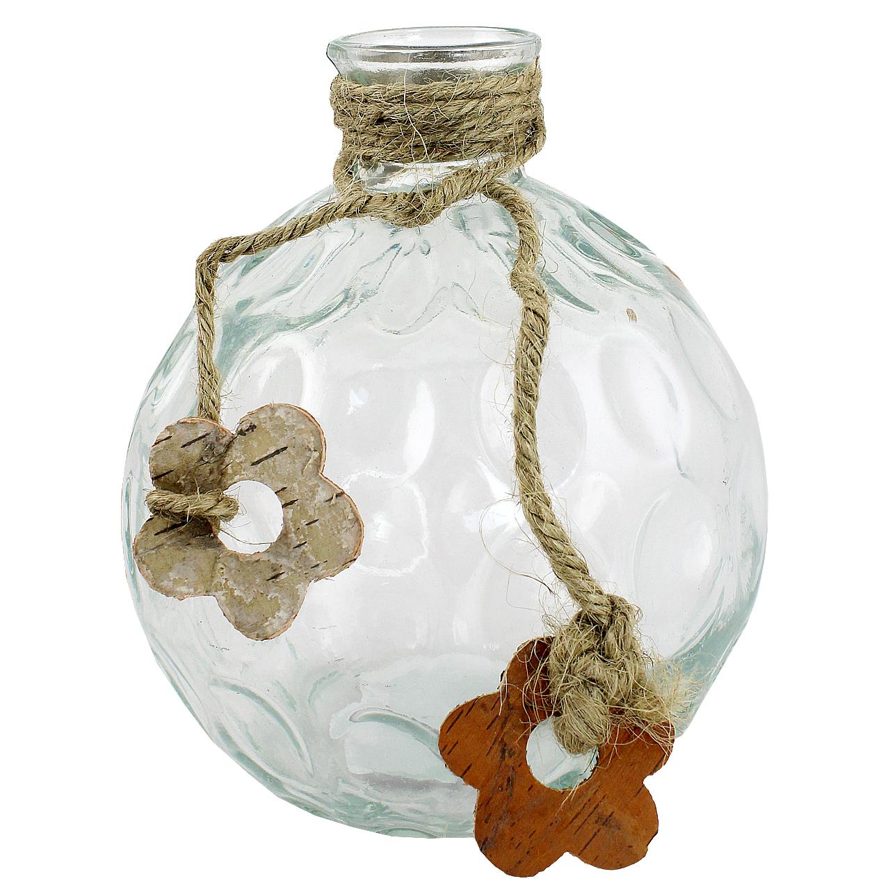 Vaza Rotunda Din Sticla Cu Floare Din Lemn 19 Cm