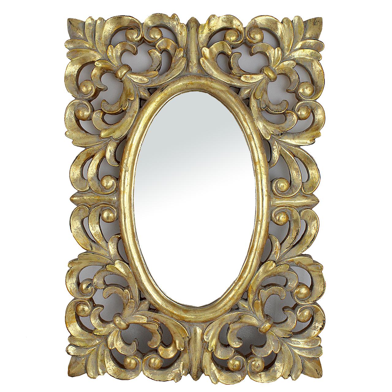 Oglinda Vintage Din Lemn Auriu