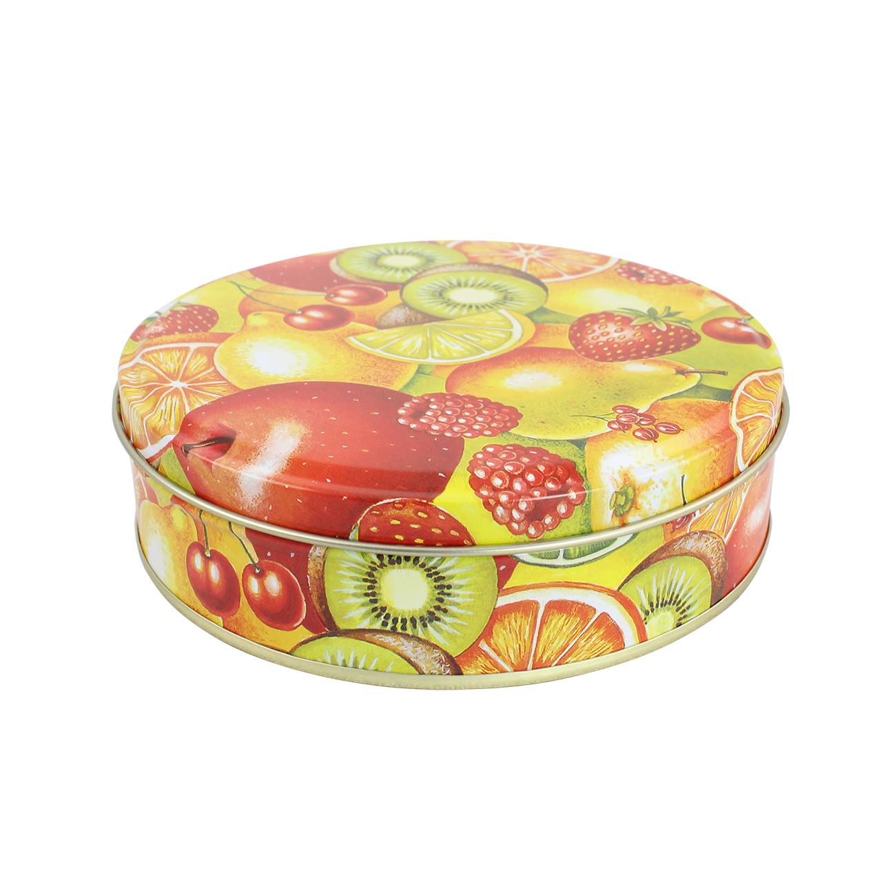 Cutie Decorativa Rotunda Din Metal Cu Fructe 14 Cm