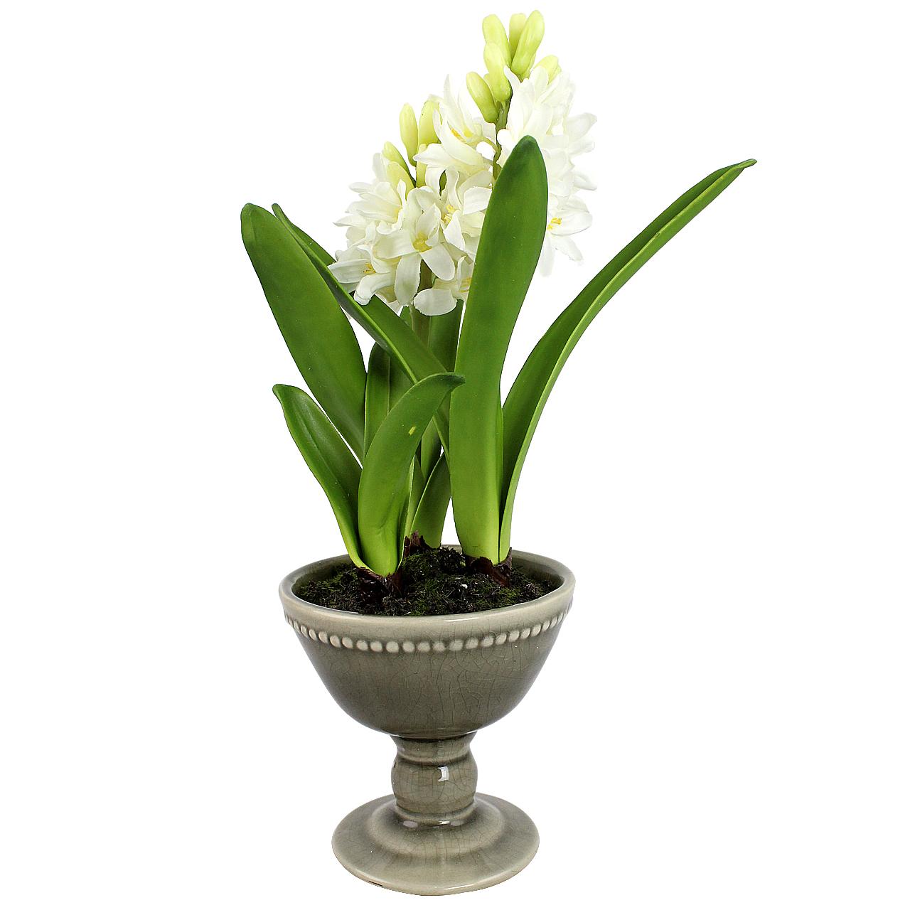 Floare Artificiala Zambila In Ghiveci Gri 31 Cm