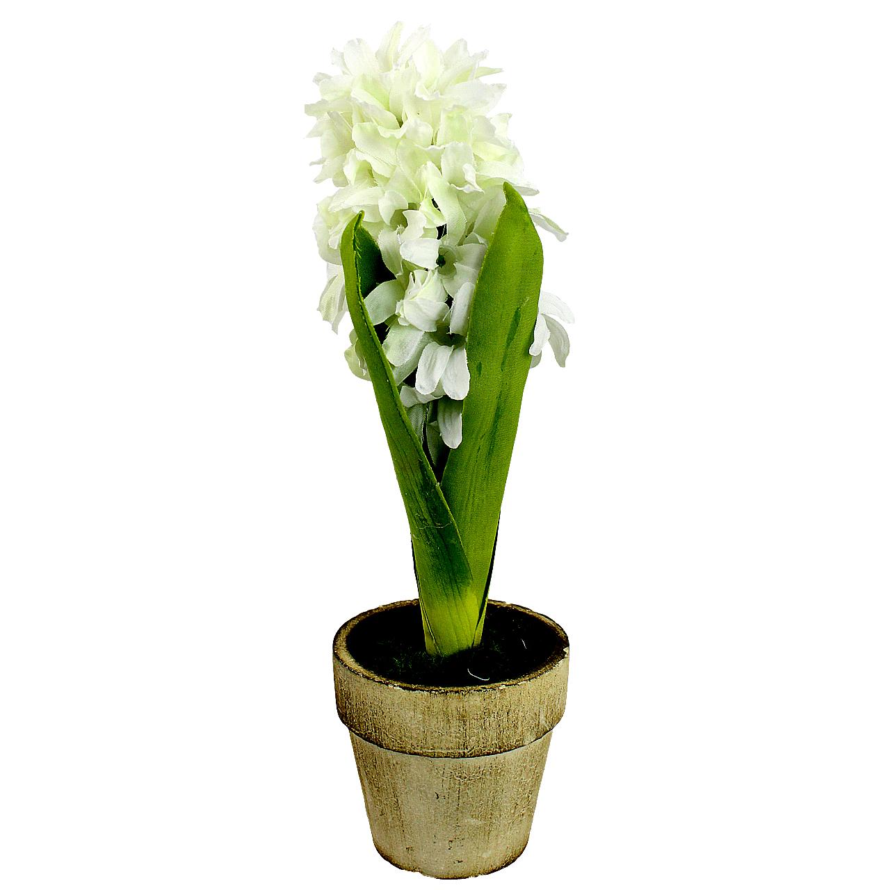 Floare Artificiala Zambila Alba In Ghiveci 21 Cm