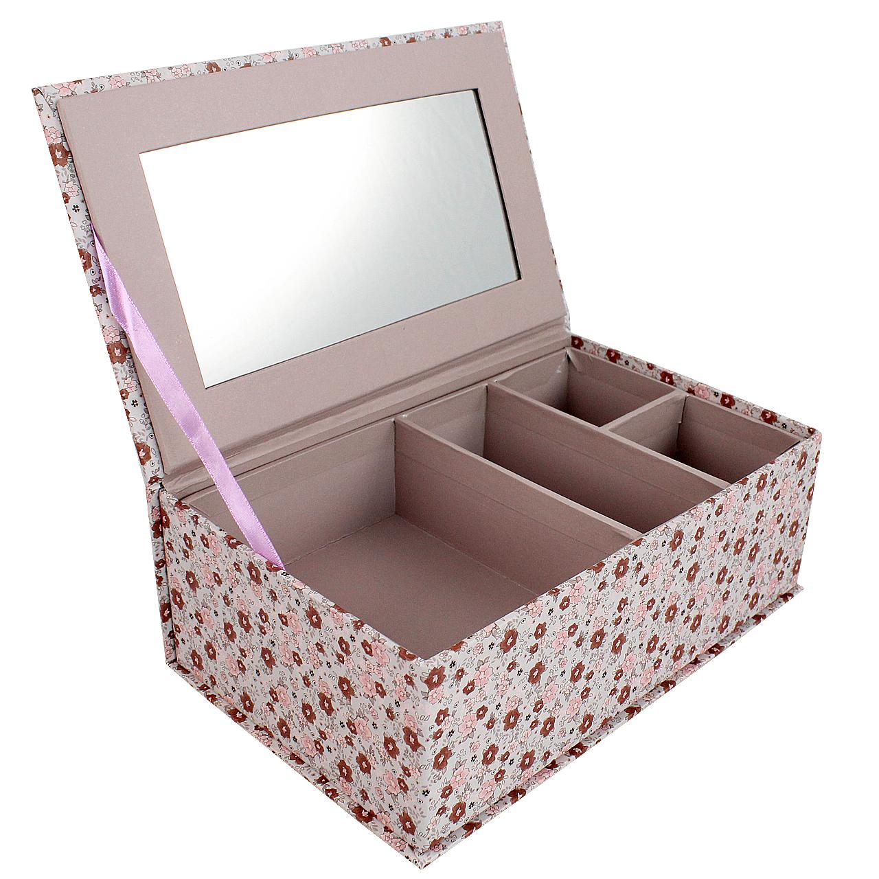 Cutie De Bijuterii Cu Capac Din Carton Roz Cu Flori
