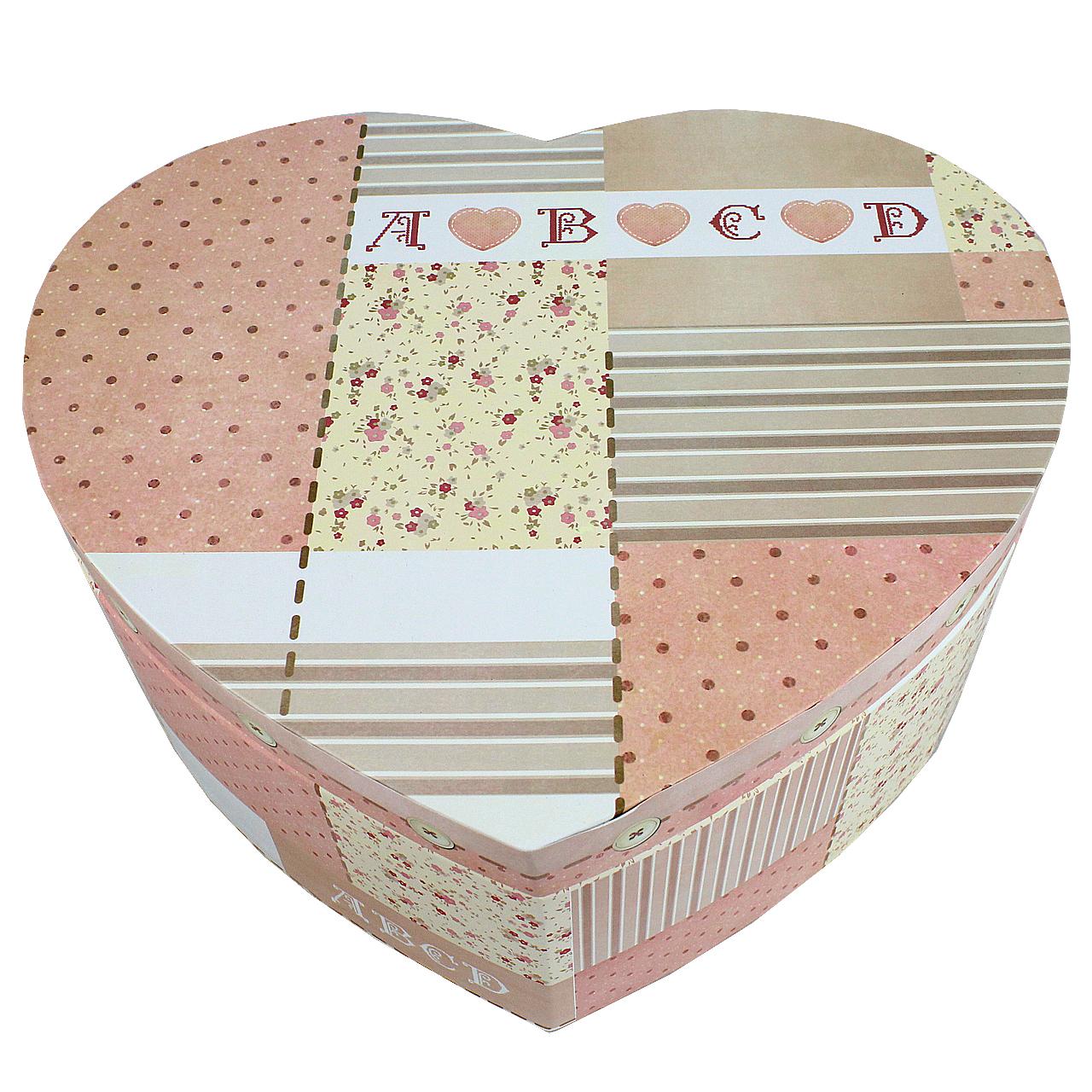 Cutie Inima Din Carton Crem Cu Roz 29x32 Cm