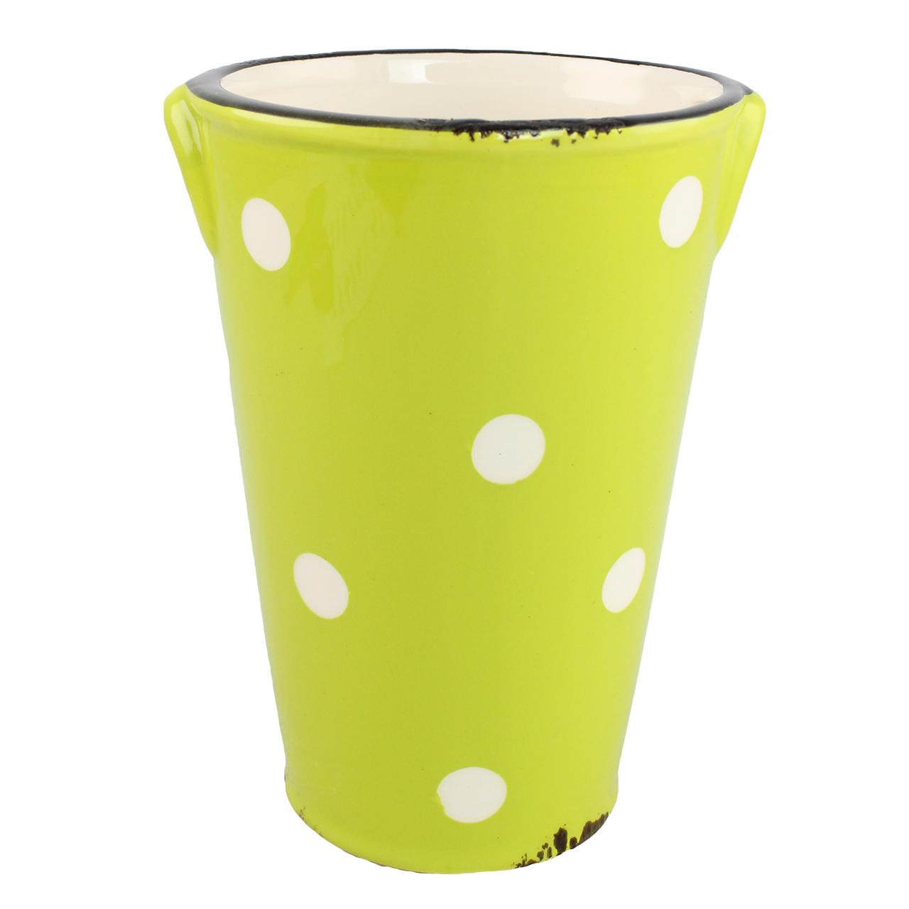 Vaza Din Ceramica Verde Cu Buline 15 Cm