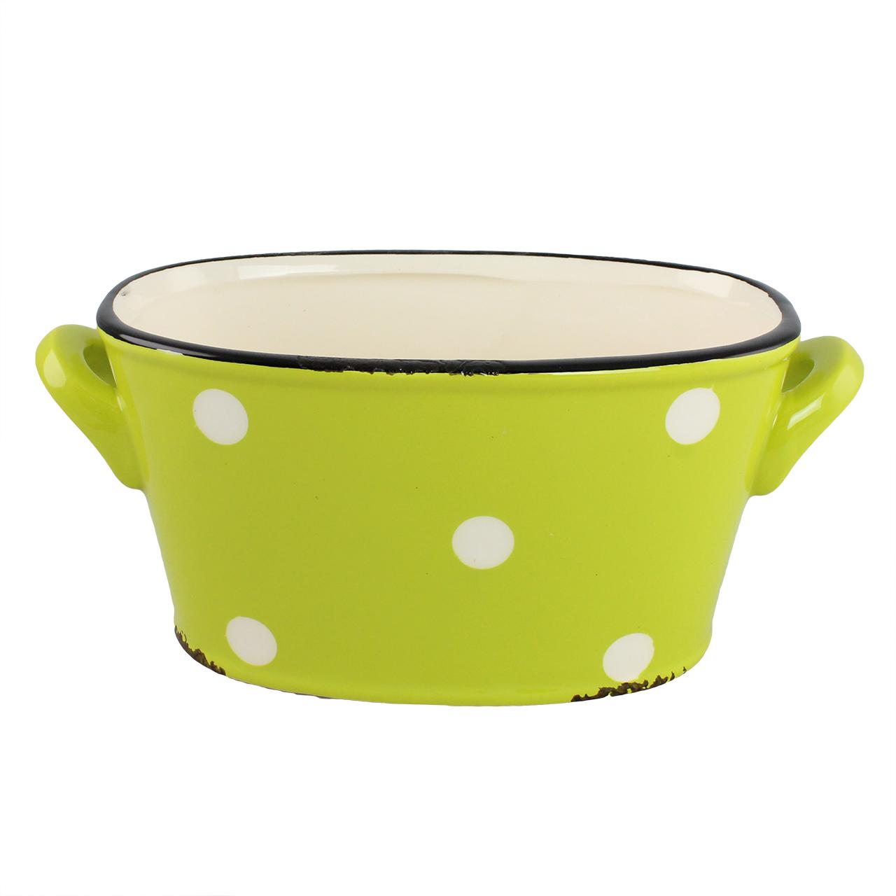 Jardiniera Din Ceramica Verde Cu Buline 20 Cm